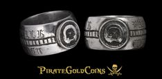 Pirates Gold, Pieces Of Eight, Silver Skull Ring, Coin Jewelry, Memento Mori, Gold Coins, Class Ring, Momento Mori