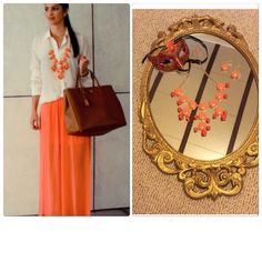 Orange & coral statement necklace & earrings Beautiful piece with matching earrings, perfect for so many things Jewelry Necklaces