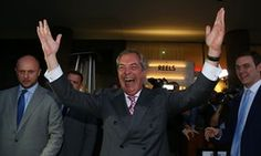 Nigel Farage reacts outside the Leave.EU referendum party at Millbank Tower in central London.
