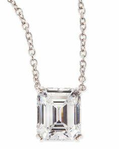 Y1YNZ Fantasia by DeSerio 6.0 Carat Cubic Zirconia Emerald-Cut Pendant Necklace