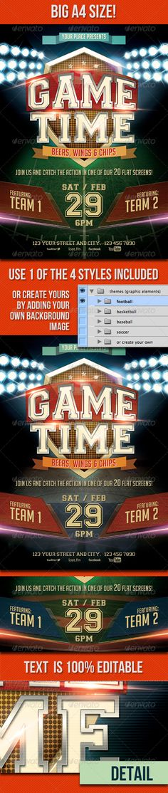 Game Time  #GraphicRiver        GAME TIME A4 POSTER  Promote your club or sports event with this action packed flyer! All the text is 100% editable!