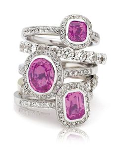 Rosendorff Amore Collection Pink Sapphire and Diamond Rings
