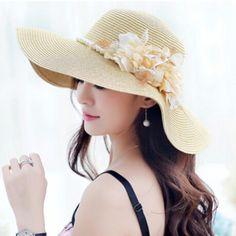 Beach flower wide brim sun hat for women UV straw hats