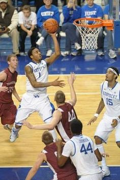 Kentucky freshman James Young rises above the Transylvania defense. He had nine points and five rebounds. (Courier Journal)