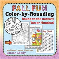 Fall pictures to Color by Rounding to nearest Ten or Hundred...kids enter each clue on the Rounding Chart, round the number, and color in the space according to the Key. Great for CCSS 3.NBT.A.1 #math $