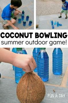 Coconuts are super versatile - check out this summer outdoor game using a coconut as a bowling ball! Kids will love it as part of a preschool ocean theme, an aloha summer camp, or just in the backyard for fun!\ Summer Fun For Kids, Outdoor Activities For Kids, Summer Games, Cooking Games For Kids, Games To Play With Kids, 1st Birthday Party Games, Kids Birthday Themes, Summer Preschool Activities, Gross Motor Activities