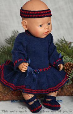 Doll dress knitting pattern