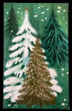 Vintage Mid-Century Mod XMAS Card Heavy Snow Flocked Embossed Christmas Trees