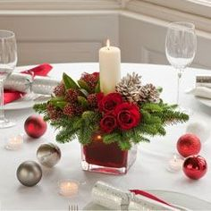 Resultado de imagen de christmas table flower arrangements