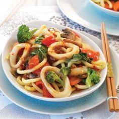 Chilli and lime stir-fried calamari