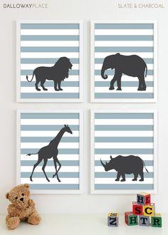 Childrens Art for Kids Wall Art, Jungle Baby Nursery Decor, Safari Animal Nursery Art, Elephant Giraffe Zoo Nursery Wall Art - Four 11x14. $60.00, via Etsy.