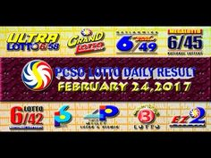 PCSO LOTTO RESULTS FEBRUARY 24, 2017 (EZ2, SWERTRES, 4D, 6/45 & 6/58) Lotto Results, Lottery Tips, National Lottery, Positive Affirmations, Stress, Positivity, Youtube, January 4, Psychological Stress