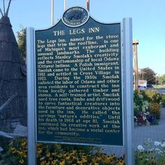 """Historical Marker at the Legs Inn, Cross Village, MI at the end of """"Tunnel of Trees"""" Drive, my favorite fall drive."""