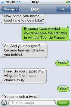 How come you never taught me to ride a bike? (via How come you never taught me to ride a bike? Funny Drunk Texts, Funny Text Memes, Text Jokes, Epic Texts, Funny Text Messages, Stupid Memes, Funny Relatable Memes, Funny Jokes, Funny Minion