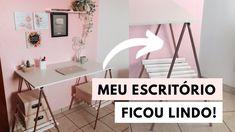 DIY - MEU ESCRITÓRIO FICOU LINDO! - Parede rosa, mesa de cavaletes e mui... Home Office, Office Desk, Planner, Furniture, Youtube, Home Decor, Rental Bathroom, Rental Home Decor, Easels