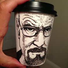 Walter White Coffee Cup Art by Miguel Cardona