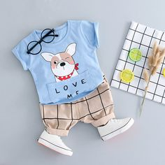 Hopscotch - Dudu Diary - Blue Animal Text Print T-Shirt and Pant Set Fashion Kids, Baby Boy Fashion, Baby Outfits Newborn, Baby Boy Outfits, Kids Outfits, Kids Dress Wear, Kids Wear, Cute Tshirts, Boys T Shirts