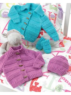 Use simple stitches to make great designs for your little one. Simple and easy to stitch, this set will keep Baby warm, toasty and super-chic. For the Round Neck Jacket, knit with 2 (2, 3, 3, 4) skeins; for the Collared Jacket, knit with 2 (2, 3, 3...