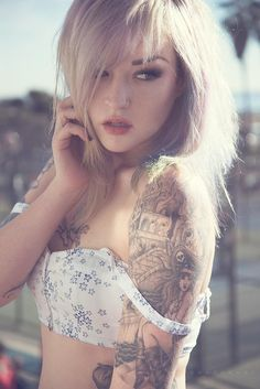 Adriane Hallek Pirate Burning City Sleeve Tattoo