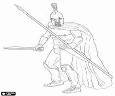 Colorear Guerrero de la antigua Esparta