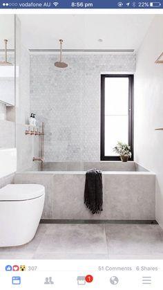 Tapware Matt copper finish and bathroom tiles