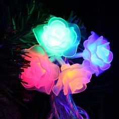Coversage 100 Led String Garland Christmas Tree Rose Flower Fairy Light Luce Home Garden Party Outdoor Holiday Decoration Christmas Tree Roses, Christmas Wedding, Flower Fairy Lights, Romantic Birthday, Led Lantern, Rare Flowers, Love Rose, Outdoor Parties, Christmas Decorations
