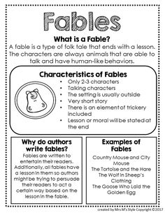 how to write a fable fables folktales and myths worksheets for preschool letters folktale substitute teachers Library Lessons, Reading Lessons, Reading Strategies, Reading Skills, Guided Reading, Close Reading, Genre Anchor Charts, Reading Anchor Charts, Folktale Anchor Chart
