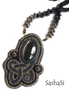 Celtic Knot Bead Embroidered Necklace