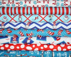 Dr Seuss Cat in the Hat 2 quilt or craft fabric bundle by Robert Kaufman- 1/2 Yard Bundle on Etsy, $40.00