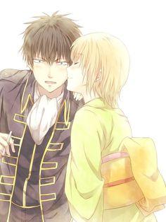 土方十四郎 沖田ミツハ The reaction on Toshi's face. I want to have a guy make that face when I kiss him. Anime Couples Manga, Anime Manga, Anime Art, Anime Love Couple, Best Couple, Gintama Wallpaper, Cheek Kiss, Okikagu, Webtoon