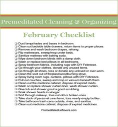 February Printable Cleaning Checklist - tips for cleaning your love nest Cleaning Checklist, House Cleaning Tips, Diy Cleaning Products, Spring Cleaning, Cleaning Hacks, Cleaning Schedules, Organizing Tips, Homekeeping, Homemaking