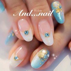 ♥♥♥ Sea Nails, Blue Nails, Summer Gel Nails, Mermaid Nails, Nailart, Round Nails, Nail Candy, Bridal Nails, Nail Art Designs