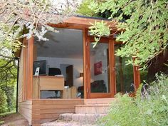 x Garden Office in Buckinghamshire for around Built in April 2008 this Contemporary style building includes with shower and wc, and hardwood decking on a steep terrace. Outdoor Office, Backyard Office, Garden Office, Outdoor Living, Outdoor Rooms, Container Buildings, Garden Buildings, Office Buildings, Cabana