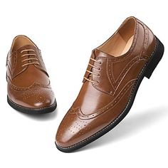 ba6449bdf0f7e8 Men  s Brown Dress Shoes Formal Lace Up Wingtip Oxford Shoes 8.5 Apparel  Accessories