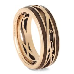 Custom Rose Gold Wedding Band, Cherry Wood Ring-3717