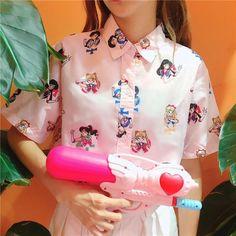 """Sailor moon printing shirt SE10437          Coupon code """"cutekawaii"""" for 10% off"""