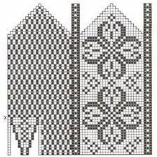 Bilderesultat for selbu mønster diagram Knitted Mittens Pattern, Knit Mittens, Knitting Socks, Hand Knitting, Fair Isle Knitting, Crochet Stitches Patterns, Crochet Chart, Crochet Designs, Stitch Patterns
