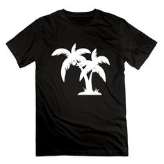 2017 New Fashion Men'S Round Neck Crazy Top Tee Guy's Palm Tree White Free Cool Personalized Shirt