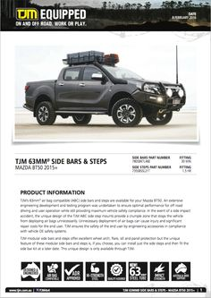 #productinfo Galore! #mazda BT50. Check tjmproducts.com for more info! #getequipped Mazda, Offroad, Check, Off Road