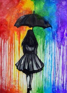 Girl holding umbrella Crayon Art