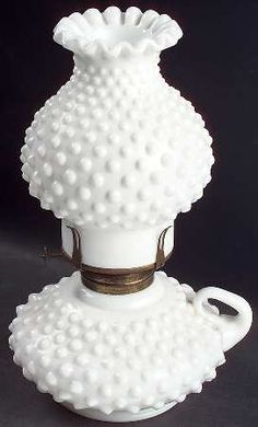 Fenton Hobnail Milk Glass Oil Courting Lamp with Globe   Milk Glass