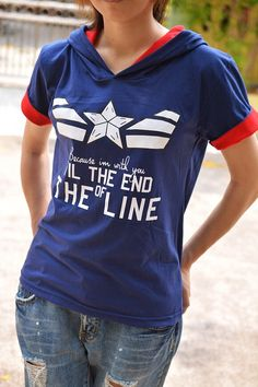 Captain America and Bucy t-shirt hoodie blue navy and red white star with quote because I'm with you till the end of the line short sleeve