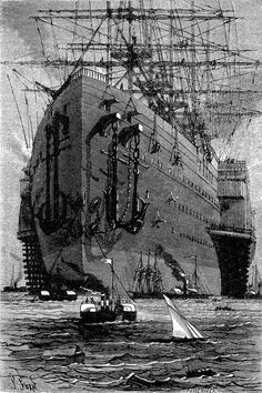 An illustration from Jules Verne's 'A Floating City' drawn by Jules Férat