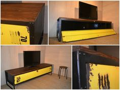 Frame an old locker on it's side for TV stand or console table.