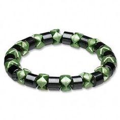 Magnetic Hematite Healing Black Green Stretch Bracelet