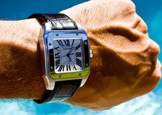 Genuine Crocodile or Calf Santos Medium or XL Cartier Santos Watch, Cartier Santos 100 Xl, Cartier Watches, Smart Bracelet, Bracelet Watch, Citizen Watch, Vintage Watches, Casio Watch, Luxury Watches