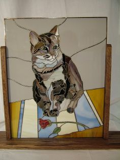 Molly - Stained Glass Portrait.  One of the best pets in stained glass I've seen, lots of detail.