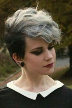 Short Wavy Hairstyles - Black and Gray Pixie Cut for Wavy Hair