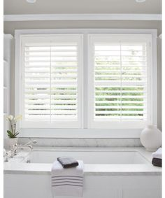 Plantation Shutters For Master Bath And Bedroom Bambooverticalblinds Suites White Wood Blinds