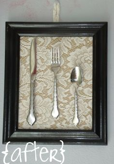 DIY kitchen decor- cool idea to do with some of the silver I inherited from my grandfather!